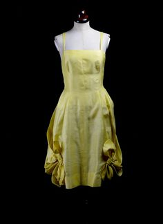 Vintage 1950s Yellow Cocktail Dress - Alexandra King - Luxury Vintage Wedding…
