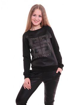Спортивный костюм А3652 Размеры: 42,44,46,48,50 Цвет: черный Цена: 1275 руб.  http://optom24.ru/sportivnyy-kostyum-a3652/  #одежда #женщинам #спортивныекостюмы #оптом24