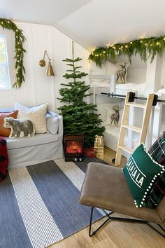 Faux Leather Pillow Lounge Chair via BHG Live Better influencer @dreamingofhomemaking. #holiday #christmas #decor #kidsroom #affordablefurniture #loungechair #kidsbedroom #kidsroomdesign Real Christmas Tree, Cozy Christmas, Simple Christmas, Xmas, Christmas Decor, Light Gray Paint, Grey Paint, Christmas Bedroom, Dream Bedroom