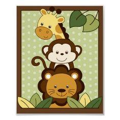Safari Jungle Animal Nursery Wall Art Print 8X10