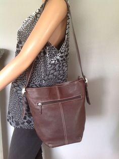 Tignanello & Co. Genuine Keather Bag Purse Shoulder Briwn Designer Fashion Chic   | eBay