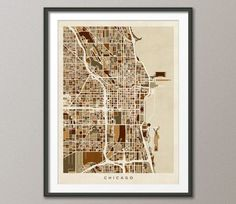 Chicago Illinois City Street Map on Etsy