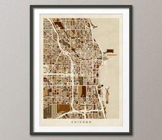 Chicago Illinois City Street Map on Etsy