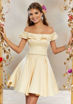 7010a3545b0 Satin Party Dress with Neckline Flounce and Crystal Beaded Waistband. Dama  DressesQuinceanera DressesShort ...