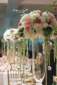 White hydrangea, pink roses, and trailing greenery and crystals in tall glass vases make stunning wedding centerpieces! Floral by Lee James Floral Designs, Orlando florist. Photo by Tina Sargeant Photography. Elegant Centerpieces, Centerpiece Decorations, Wedding Centerpieces, Tall Centerpiece, Tall Vases, Wedding Reception Flowers, Wedding Reception Decorations, Floral Wedding, Wedding Ideas