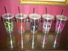 Personalized Monogram 16 oz double insulated Cup with by anniemags, $12.00