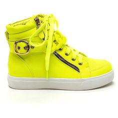 Chained To My High-Top Sneakers NEONYELLOW ($32) ❤ liked on Polyvore featuring shoes, sneakers, yellow, yellow shoes, flat shoes, yellow sneakers, flat platform shoes and yellow high top sneakers