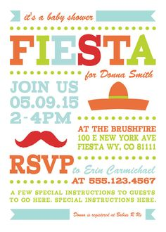 FIESTA Party Printable Invitation 5x7 Custom Party by PaperNCharm
