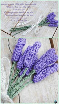 Crochet Lavender Flower Free Pattern-Crochet 3D Flower Bouquet Free Pattern