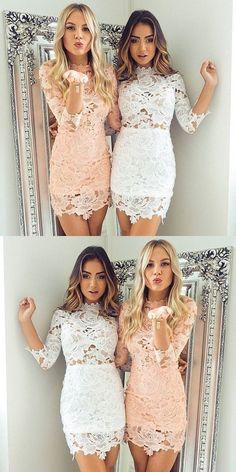 Lace Short Homecoming Dresses, Sweet 16 Dresses, Cute Short Party Dresses