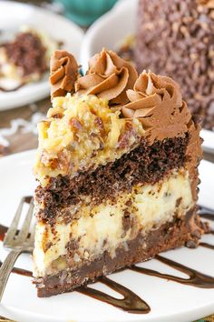 This Outrageous Chocolate Coconut Cheesecakerecipe has layers of gooey brownie, coconut chocolate chip cheesecake, rich chocolate cake and coconut pecan filling. It's an over-the-top dessert of pure deliciousness! #coconutcheesecake #chocolatecheesecake #bestcheesecakerecipe #easycheesecake #homemadecheesecake #howtomakecheesecake Best Chocolate Cheesecake, Coconut Cheesecake, Cheesecake Cake, Banana Pudding Cheesecake, Cheese Cake Factory, Mini Chocolate Chips, Chocolate Cake, Coconut Chocolate, German Chocolate