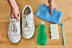 How to Clean White Shoes   Apartment Therapy How To Clean White Sneakers, Clean Shoes, Cleaning Sneakers, How To Shrink Clothes, Clean White Leather, White Canvas Shoes, Mesh Laundry Bags, Knit Sneakers, Your Shoes