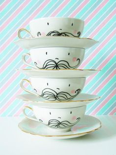 Gift - moustache cups - tea time - $46.75 by bodesigns