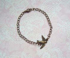 Armkettchen Vogel Schwalbe bronze von MiMaKaefer auf DaWanda.com