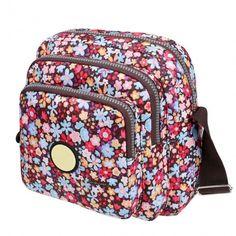 Women Nylon Small Square Floral Print One Shoulder Bag Messenger Bag