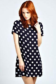 Francis Polka Dot Shift Dress at boohoo.com