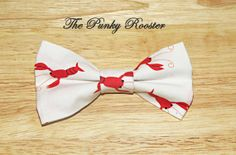 Red Lobster Bow Tie Clip on Bow Tie Boys Bow by ThePunkyRooster, $9.95