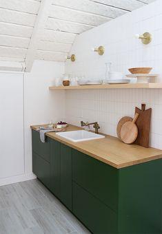 a-frame finished kitchen renovation semihandmade sarah sherman samuel Green Kitchen Decor, Diy Kitchen, Kitchen Interior, Kitchen Dining, Kitchen Tiles, Rustic Kitchen, Kitchen Cabinets, Decoracion Vintage Chic, Green Cabinets