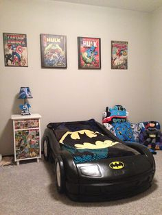 My Little Guy S Toddler Room Tykes Car Bed Converted To Batmobile With Black Spray
