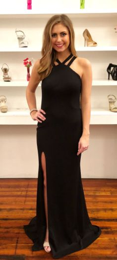 Gorgeous Black Mermaid Long Evening Dress with Side Slit #promdress #2018promdress #blackpromdress #partydress
