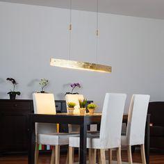 Edle LED-Hängeleuchte Malu in Gold-antik, 119 cm