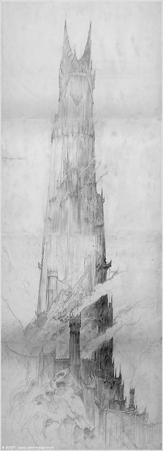 Barad-dûr (via John Howe :: Illustrator John Howe :: Illustrator [ Portfolio ] :: Home / Moving Pictures / The Lord of the Rings / Concept art / Barad-dûr)