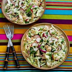 Love this flavorful Vietnamese Cabbage Salad with Chicken and Cilantro; the dressing had fish sauce, rice vinegar, and lime juice. [from Kalyn's Kitchen] #Vietnamese #Salad #LowCarb #GlutenFree