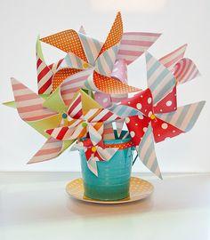 Pinwheel centerpiece ~ Summer beach party.