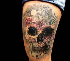 Flowers Skull tattoo by Coen Mitchell