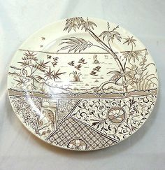 1881-Antique-English-Aesthetic-Movement-Brown-Transferware-Plate