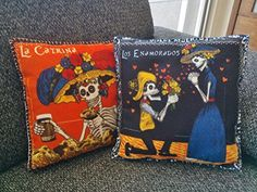 Set of 2 Day of the Dead skull pillows, Set of Two Cushions Day of the Dead Catrina, sugar skull pillow, Dia de muertos skull decor, Mexican Sugar skull, Decorative pillow, Dia de muertos pillow. Decorative cushions Images alluding to the Day of the dead in felt printed, everyday activities represented by the death in a funny way. You will Get 2 cushions. Each decorative pillow has an image printed in the front (background of image may vary from black or orange) and the back is black…