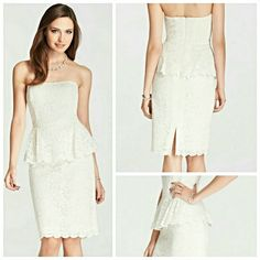 NWT BEAUTIFUL BRIDAL Stunning bridal ivory lace Peplum dress. Strapless sweetheart neckline. Peplum hem. Hidden back zipper with hook-and-eye closure. Back vent. Lined. 23'' from natural waist. Perfect for the soon-to-be bride! Never worn only tried on. Ann Taylor Dresses