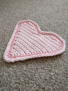 Pink heart crochet coaster