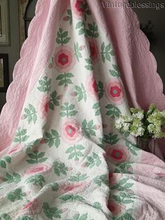 Vintageblessings: Large enought to go across a king or queen bed, just use double the pillows at the top! VINTAGE 30s Romantic Cottage ROSE Applique QUILT Large 92x74""