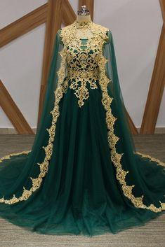 Dark Green Tulle Gold Lace Applique Long Arabic Formal Prom Dress, Evening Dress – Dress Home Prom Dresses 2018, Cheap Prom Dresses, Sexy Dresses, Evening Dresses, Bridesmaid Dresses, Fantasy Gowns, Royal Dresses, Queen Dress, Medieval Dress