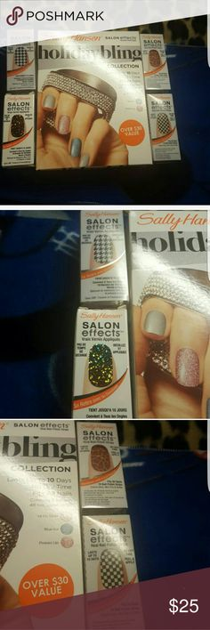 NEW!! SALLY HANSEN SET HOLIDAY BLING COLLECTION     HI HO SILVER BLUE ICE PINKIES UP  #470 LUST ROUS #240 CHECK IT OUT #460 QUEEN OF THE JUNGLE #235 CHECK, PLEASE! sally hansen Makeup