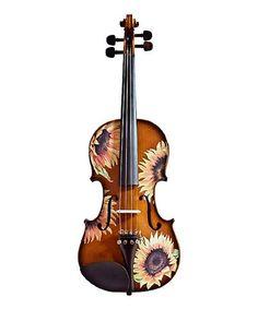 Loving this Natural Sunflower Delight Violin Set on #zulily! #zulilyfinds