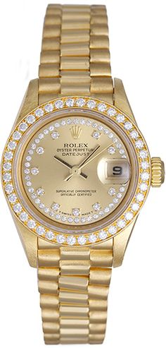 Ladies Rolex President 18k Yellow Gold Diamond Watch 79138