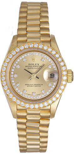 Ladies Rolex President 18k Yellow Gold Diamond Watch 79138