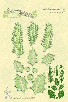 Leane Creatief Lea-bilities Dies: Holly Leaves and Pine Branches (45.9920)
