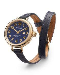 Y2AB7 Shinola 34mm Birdy Yellow Golden Double-Wrap Watch, Blue