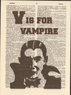 V is for Vampire Vintage Upcycled Book Page by StorybookArtPrints