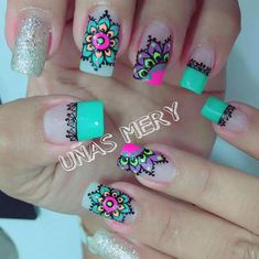 Popping with color - Mandala nail art Stiletto Nail Art, Toe Nails, Acrylic Nails, Fabulous Nails, Gorgeous Nails, Pretty Nails, Mandala Nails, Bright Nails, Nail Polish Art