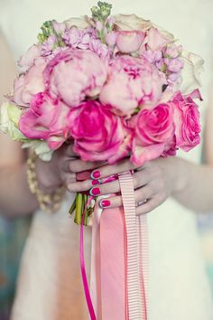 Pretty Pink Bouquet with Ribbons // Her Lovely Heart Photoshoot at Aynhoe Park // Flowers by Fairynuff Flowers