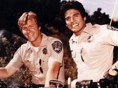 Larry Wilcox and Erik Estrada in the 1970s TV show ChiPs.