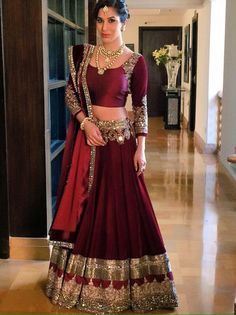 Buy online maroon colored bridal lehenga choli at lowest price. This bridal lehenga choli is prettified with attractive patterns of lace and stone. Indian Bridal Wear, Indian Wedding Outfits, Bridal Outfits, Indian Outfits, Bridal Dresses, Indian Reception Outfit, Bride Indian, Indian Weddings, Manish Malhotra Bridal
