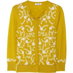 L'Wren Scott Embellished cashmere-blend cardigan ($815) ❤ liked on Polyvore featuring tops, cardigans, sweaters, jackets, knitwear, embroidered cardigan, embellished tops, yellow cardigan, beaded cardigan and embroidered top