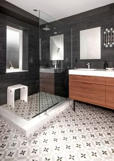 A new interior design collection of 25 Terrific Transitional Bathroom Designs That Can Fit In Any Home with lots of ideas and inspiraiton. Bathroom Tile Designs, Bathroom Floor Tiles, Bathroom Interior Design, Tile Floor, Bathroom Colors, Shower Floor, Bathroom Rugs, Bathroom Furniture, Wall Tiles