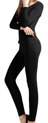 64b69668b62b7b Peach Couture 100 Cotton Womens Waffle Knit 2 Pcs Top Bottom Thermal Set XXL  Black.