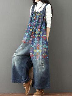 ripped denim overalls